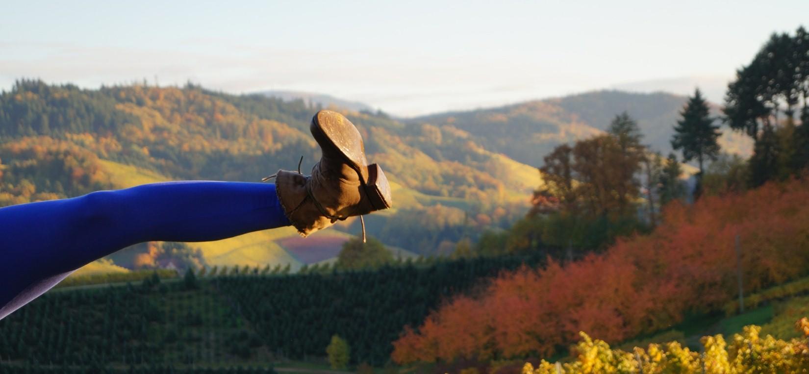 Kuvituskuva. Kuvassa naisen potkuun kohonnut jalka kirkkaan sinisissä sukkahousuissa ja ruskealla nahkabootsilla vuoristoista ruskamaisemaa vasten.