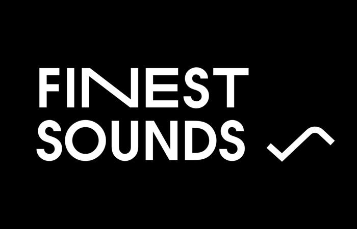 Finest Sounds -logo mustaa taustaa vasten.