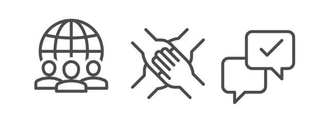 Kolme abstraktia, yhteisöllisyyttä ja verkostoitumista kuvaavaa piirroskuvaa vierekkäin vaakatasossa.