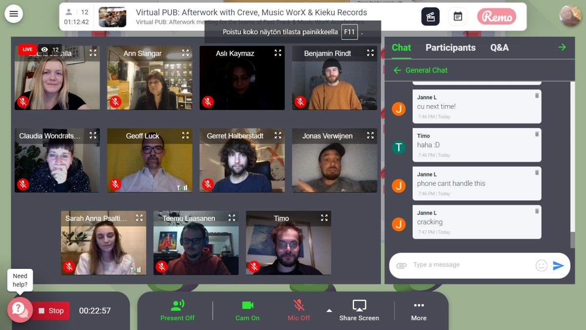 A screen shot of a Virtual PUB event featuring multiple people using remote video communications.