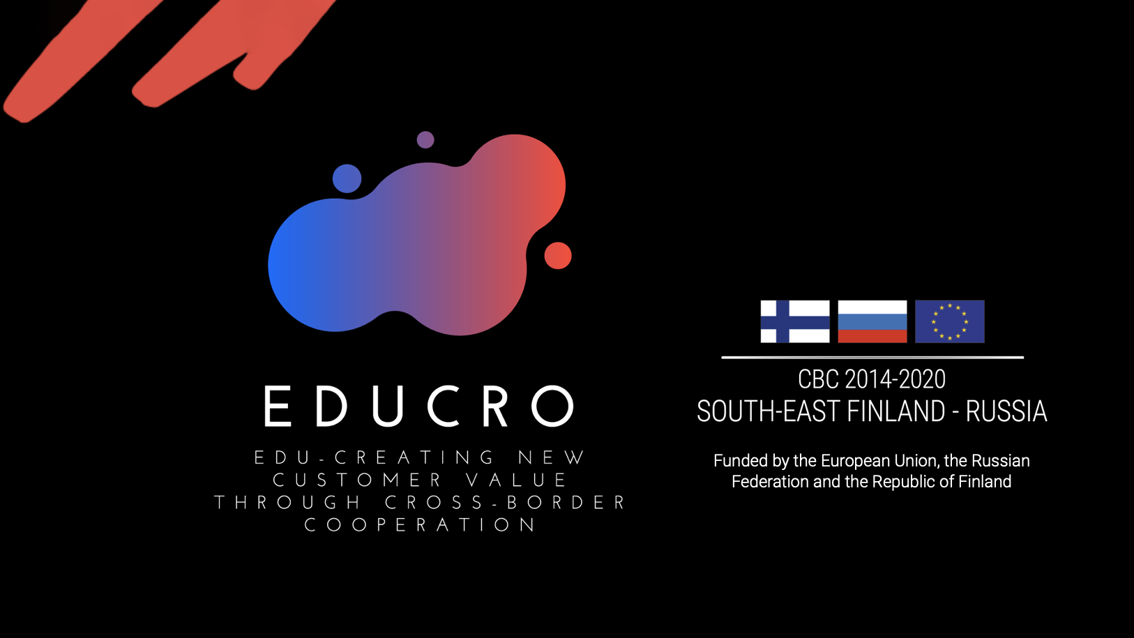 The logos of the EDUCRO project and its funding partner CBC against a black background.