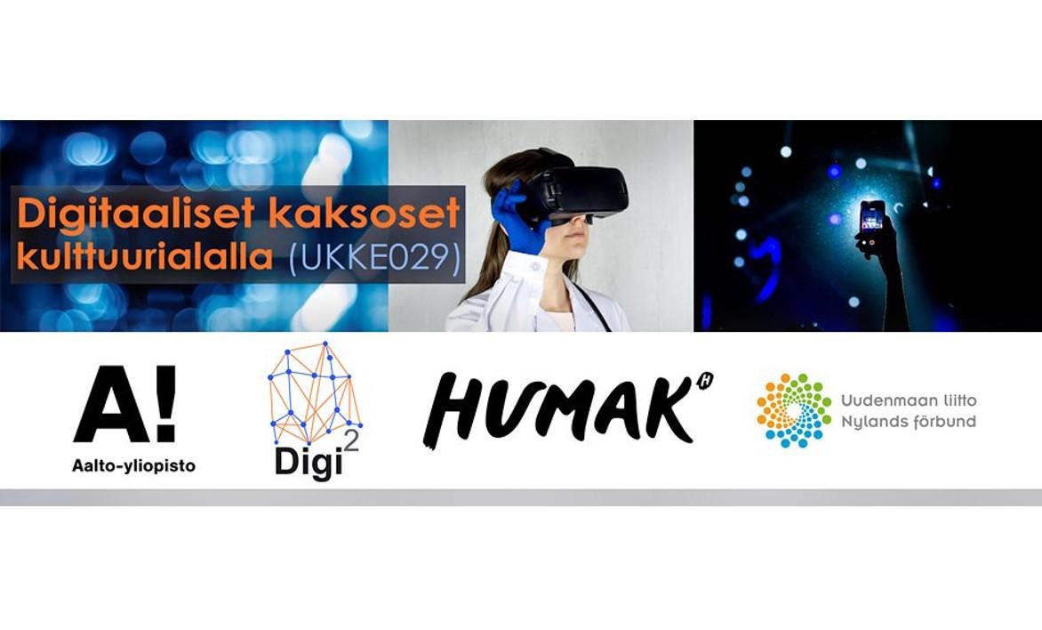 Digitaaliset kaksoset kulttuurialan ekosysteemin elvyttämisessä -hankkeen logo, kuvituskuva ja partnerilogot Humak ja Aalto-yliopisto