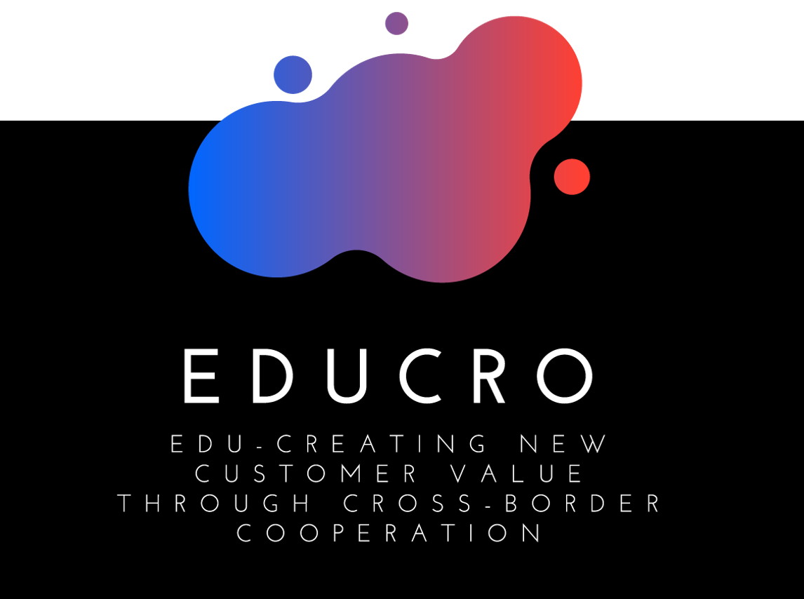 EDUCRO-hankkeen logo. Edu-creating new customer value through cross-border cooperation.