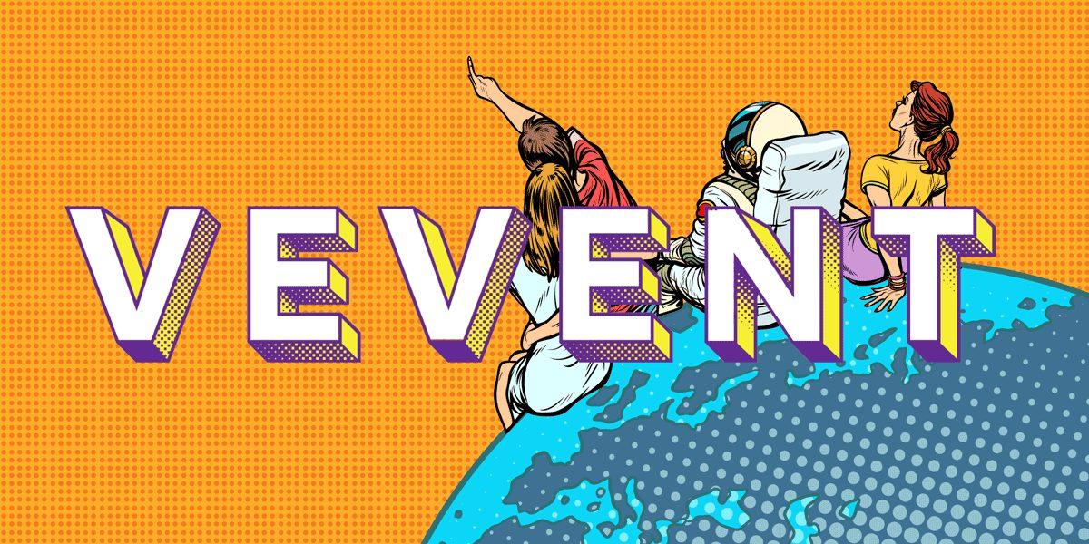 Vevent-hankkeen logo, taustalla kuvituskuva, jossakolme ihmistä istuu maapallon reunalla ja osoittavat avaruuteen.