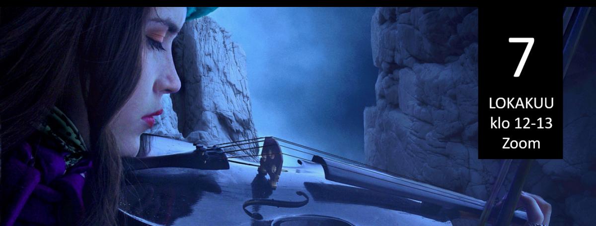 Kuvituskuva: nainen soittaa viulua silmät suljettuna utuisessa vuoristossa. Tapahtumapäivämäärä kuvan päällä.