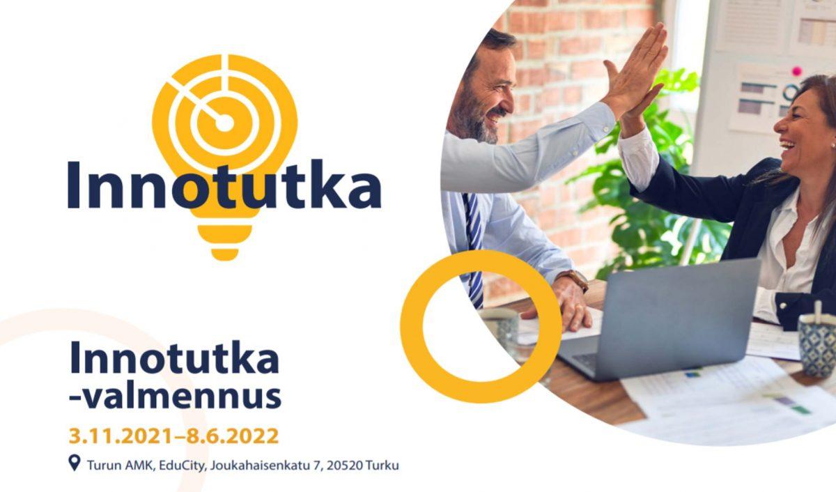 Innotutka-valmennus, 3.11.2021-8.6.2022, hankkeen logo ja kuvituskuva
